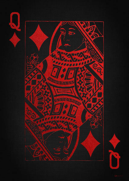 Digital Art - Queen Of Diamonds In Red On Black Canvas   by Serge Averbukh