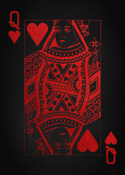 Digital Art - Queen Of Hearts In Red On Black Canvas   by Serge Averbukh