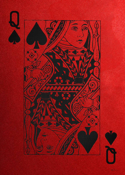 Digital Art - Queen Of Spades In Black On Red Canvas   by Serge Averbukh