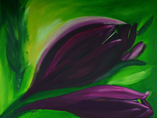 Wall Art - Painting - Queen Of The Night Tulips by Donna Blackhall
