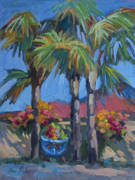 Wall Art - Painting - Queen Palms And Flowers by Diane McClary