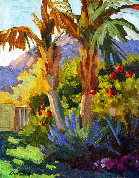 Canaries Painting - Queen Palms by Diane McClary