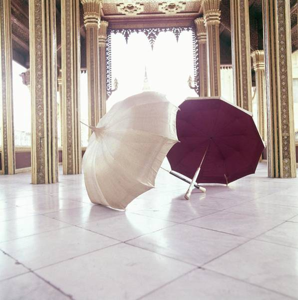 Tile Floor Photograph - Queen Sirikit's Umbrellas At The Grand Palace by Henry Clarke