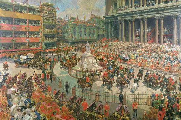 Crowd Painting - Queen Victorias Diamond Jubilee, 1897 by G.S. Amato