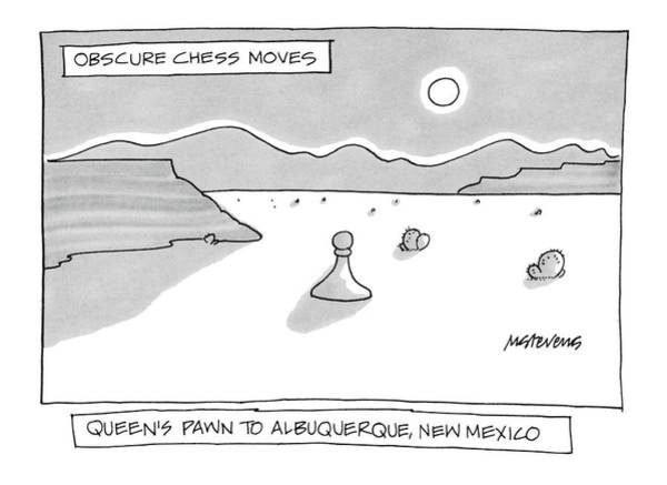 December 12th Wall Art - Drawing - Queen's Pawn To Albuquerque by Mick Stevens