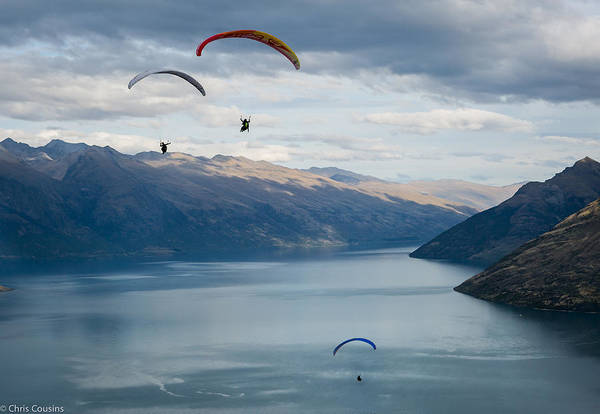Photograph - Queenstown Paragliders by Chris Cousins