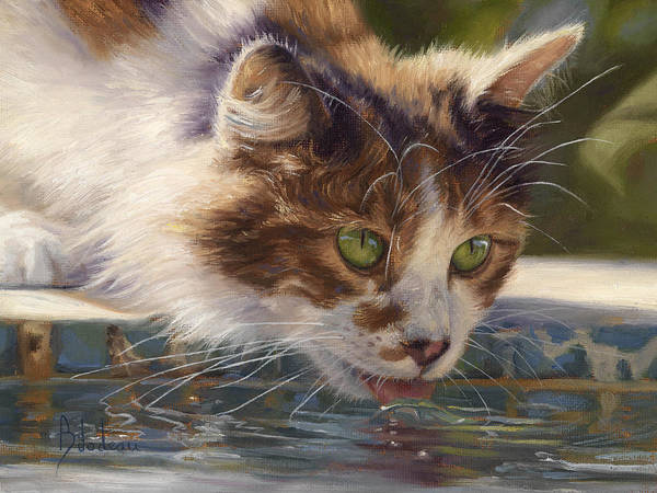 Domestic Cat Wall Art - Painting - Quenching Her Thirst by Lucie Bilodeau