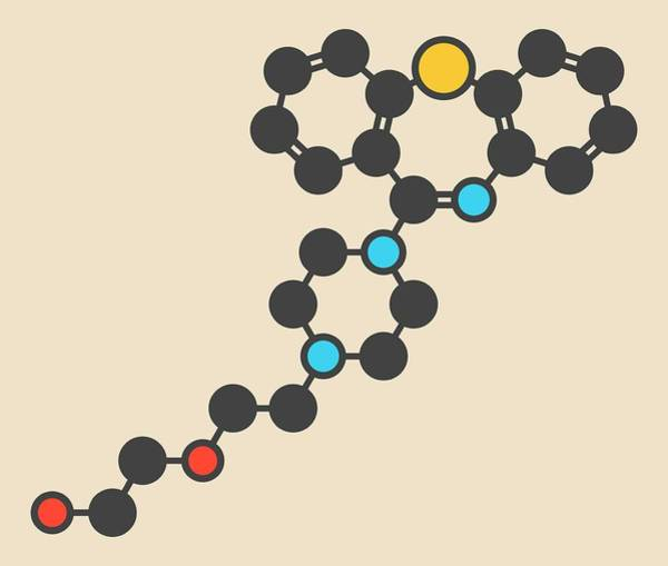 Psychiatry Photograph - Quetiapine Antipsychotic Drug Molecule by Molekuul
