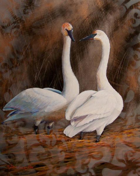 Trumpeter Swan Painting - Quiet Conversation by Dee Carpenter