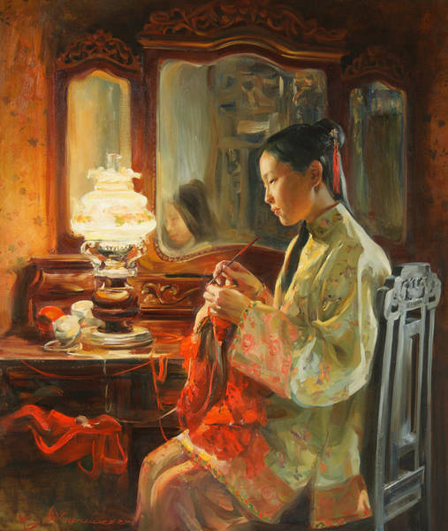 Asian Wall Art - Painting - Quiet Evening by Victoria Kharchenko