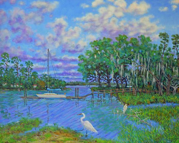 Oak Harbor Painting - Quiet Low Country Lagoon by Dwain Ray