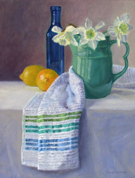 Wall Art - Painting - Quiet Moment- Daffodils In A Blue Green Pitcher With Lemons by Bonnie Mason