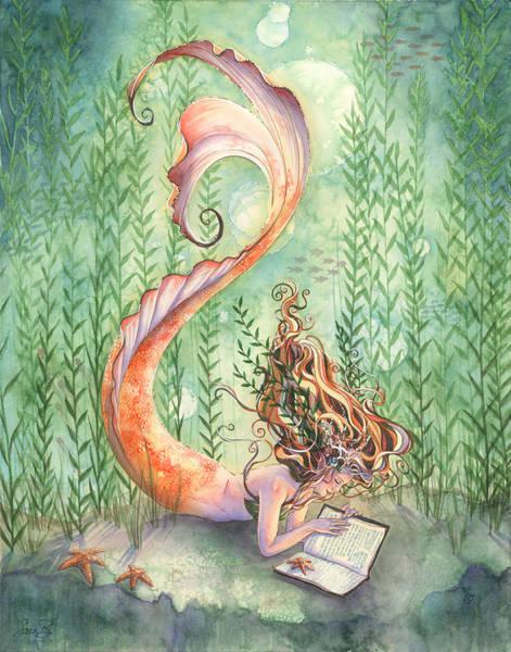 Mermaid Painting - Quiet Time by Sara Burrier