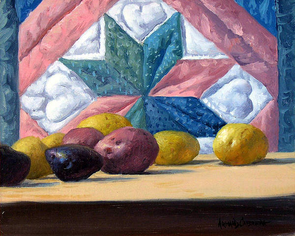 Potato Painting - Quilt And Potatoes by Armand Cabrera