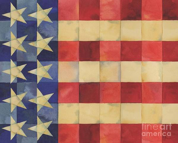 Wall Art - Painting - Quilted Flag Horizontal by Paul Brent