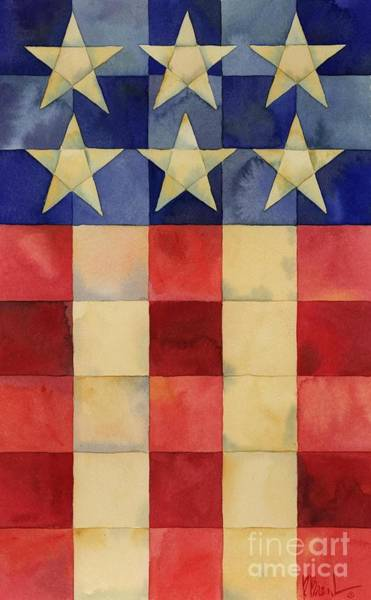 Wall Art - Painting - Quilted Flag Vertical by Paul Brent