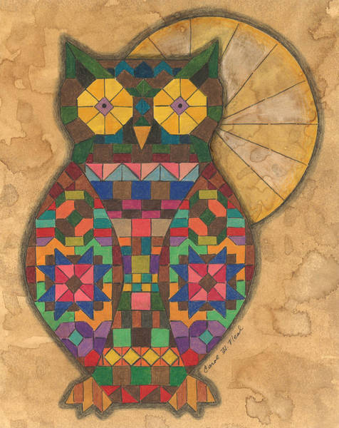 Nocturnal Drawing - Quilted Owl by Carol Neal