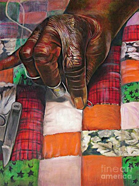 Elderly Wall Art - Pastel - Quilting II by Curtis James