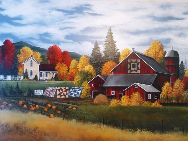 Porch Painting - Quilts And Foliage In Vt by Debbi Wetzel