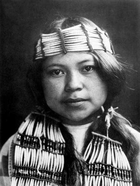 Headband Photograph - Quinault Indian Girl Circa 1913 by Aged Pixel