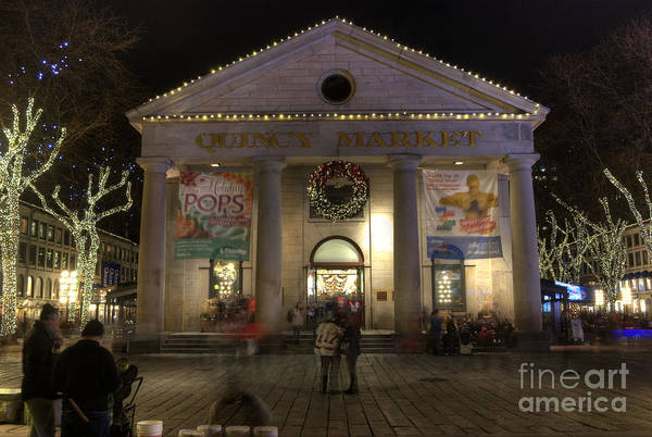 Photograph - Quincy Market At Night by Juli Scalzi