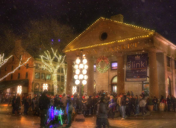 Photograph - Quincy Market At Night With Snow - Boston by Joann Vitali