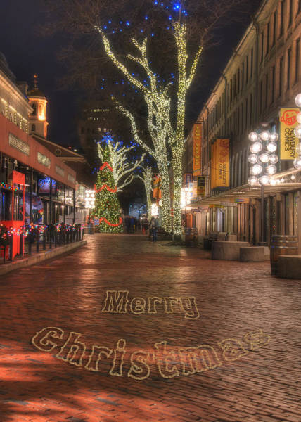 Photograph - Quincy Market Holiday Card 3 by Joann Vitali