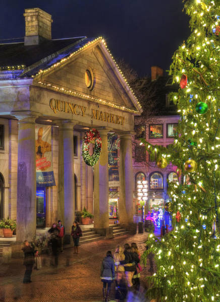Photograph - Quincy Market Holiday Colors - Boston by Joann Vitali