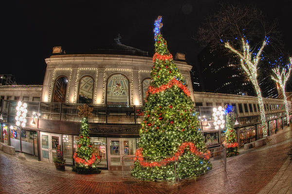 Photograph - Quincy Market Holiday Lights by Joann Vitali