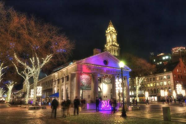 Photograph - Boston Quincy Market Night Holiday Scene by Joann Vitali