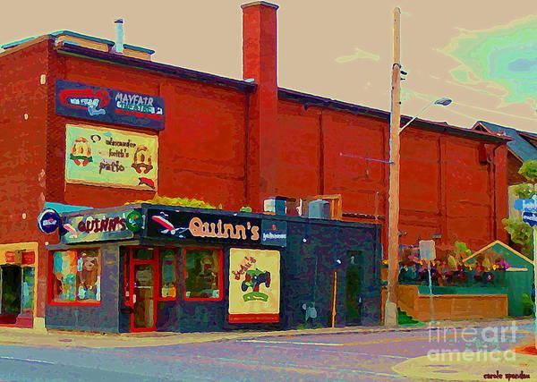 Painting - Quinn's Family Restaurant Old Ottawa Best Pub Food Near Mayfair Theatre Glebe Streetscene C Spandau by Carole Spandau