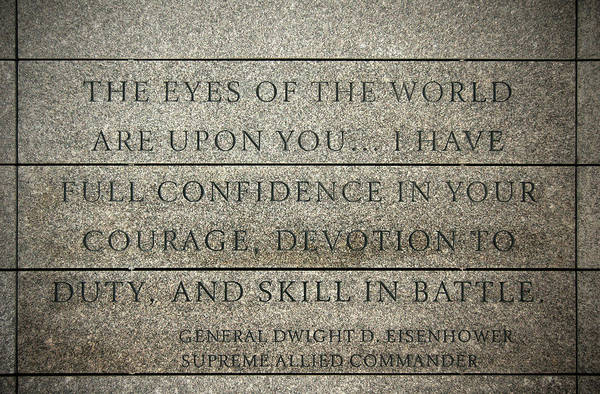 Inscription Photograph - Quote Of Eisenhower In Normandy American Cemetery And Memorial by RicardMN Photography