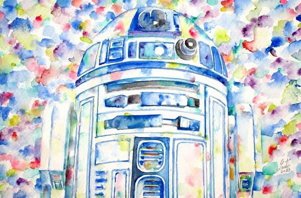 Star Wars Wall Art - Painting - R2-d2 Watercolor Portrait.1 by Fabrizio Cassetta