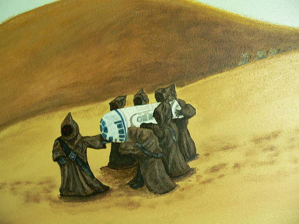 Painting - R2d2 And Jawas by Dan Wagner
