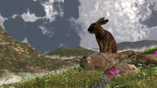 Haring Digital Art - Rabbit After A Spring Storm by Daniel Eskridge