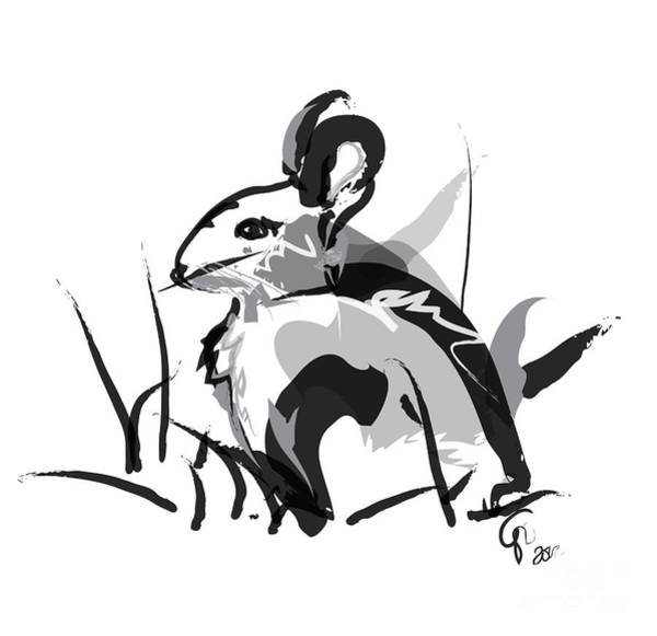 Painting - Rabbit Bunny Black White Grey by Go Van Kampen