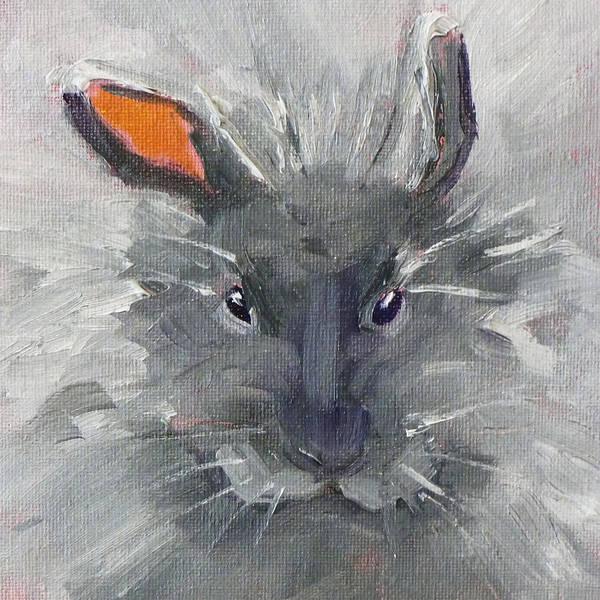Wall Art - Painting - Rabbit Fluff by Nancy Merkle