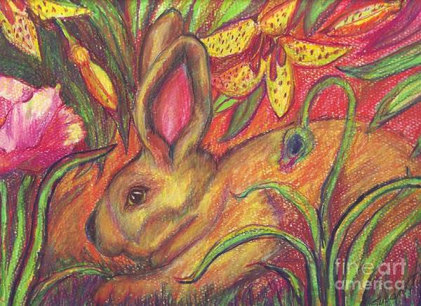 Wall Art - Painting - Rabbit In Flowers by Susan Brown    Slizys art signature name
