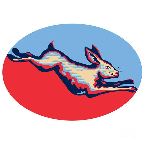 Haring Digital Art - Rabbit Jumping Side Retro by Aloysius Patrimonio