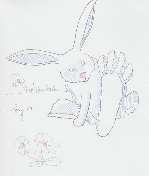 Drawing - Rabbit Spreading Toes Cartoon by Mike Jory