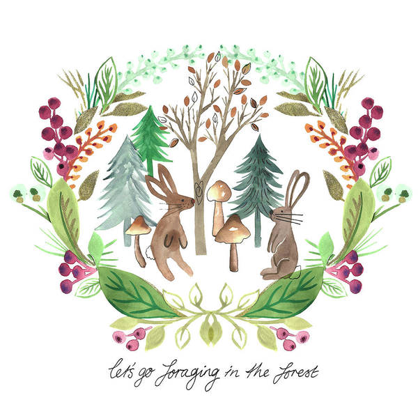 Wall Art - Painting - Rabbits Foraging In The Forest Watercolour Placement With Laurel Wreath Surround.jpg by MGL Meiklejohn Graphics Licensing