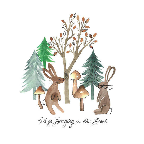 Wall Art - Painting - Rabbits Foraging In The Forest Watercolour Placement.jpg by MGL Meiklejohn Graphics Licensing