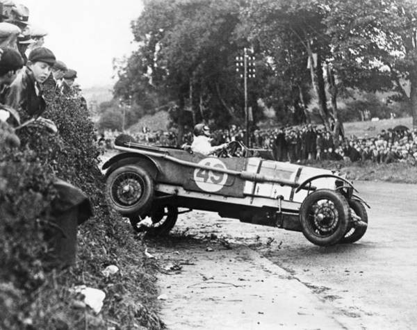Road Side Photograph - Race Car Driver Skids by Underwood Archives