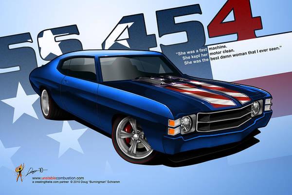 Digital Art - Race Chevelle by Doug Schramm