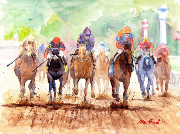 White Horse Painting - Race Day by Max Good