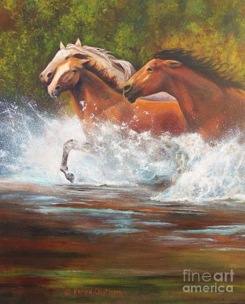 Wall Art - Painting - Race For Freedom Close Up by Karen Kennedy Chatham