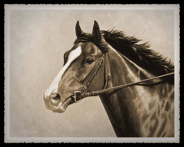 Race Horse Wall Art - Painting - Race Horse Old Photo Fx by Crista Forest