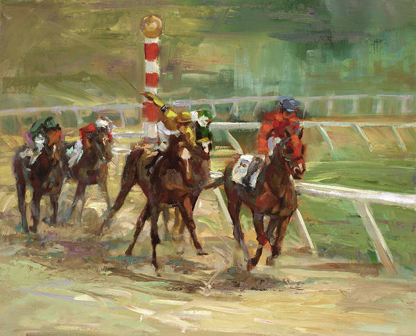 Running Horses Painting - Race Horses by Laurie Snow Hein