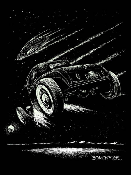 Wall Art - Drawing - Race To The Moon IIi by Bomonster