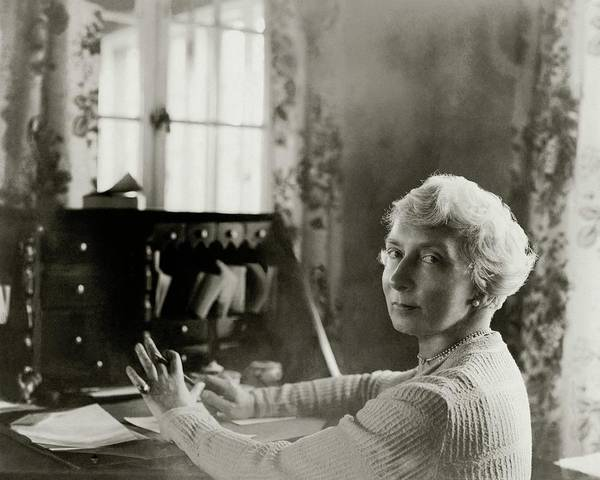 Photograph - Rachel Crothers Sitting At A Desk by Florence Vandamm